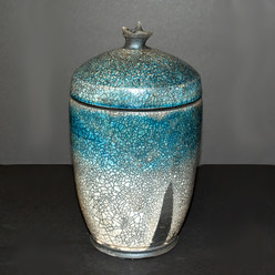 "Lided Jar - Copper Glaze - 10""H"