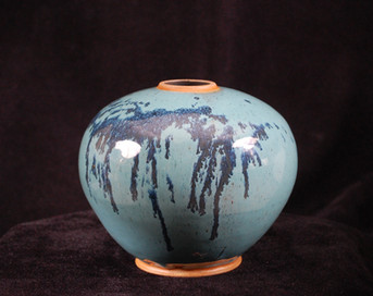 "Sphere - Blue Glaze - 8""H"