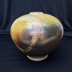 "Sphere - Wood Fired - Wax Resist - Ash Glaze - 8""H"