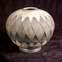 "Sphere- Carved - White Glaze - 9""H"