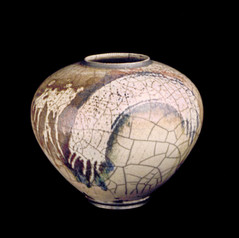 "Sphere- Wax ResistCopper Glaze - 14""H"