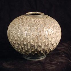 "Sphere- Carved - White Glaze - 8""H"