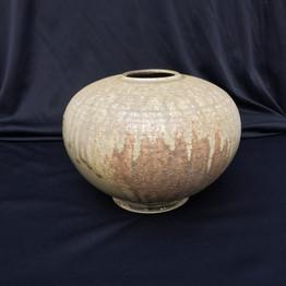 "Sphere - Wood Fired - Ash Glaze - 8""H"