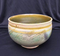 "Bowl - Wood Fired - Temoku and Copper Glaze - 8""H"