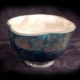 "Altered Bowl - Copper Glaze - 5""H"