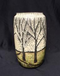 "Jar - Wax Resist Copper glaze - 9""H"