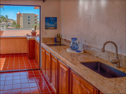 Granite counter kitchen to terrace