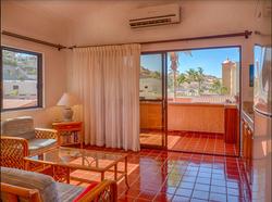 Living room, terrace, hillside