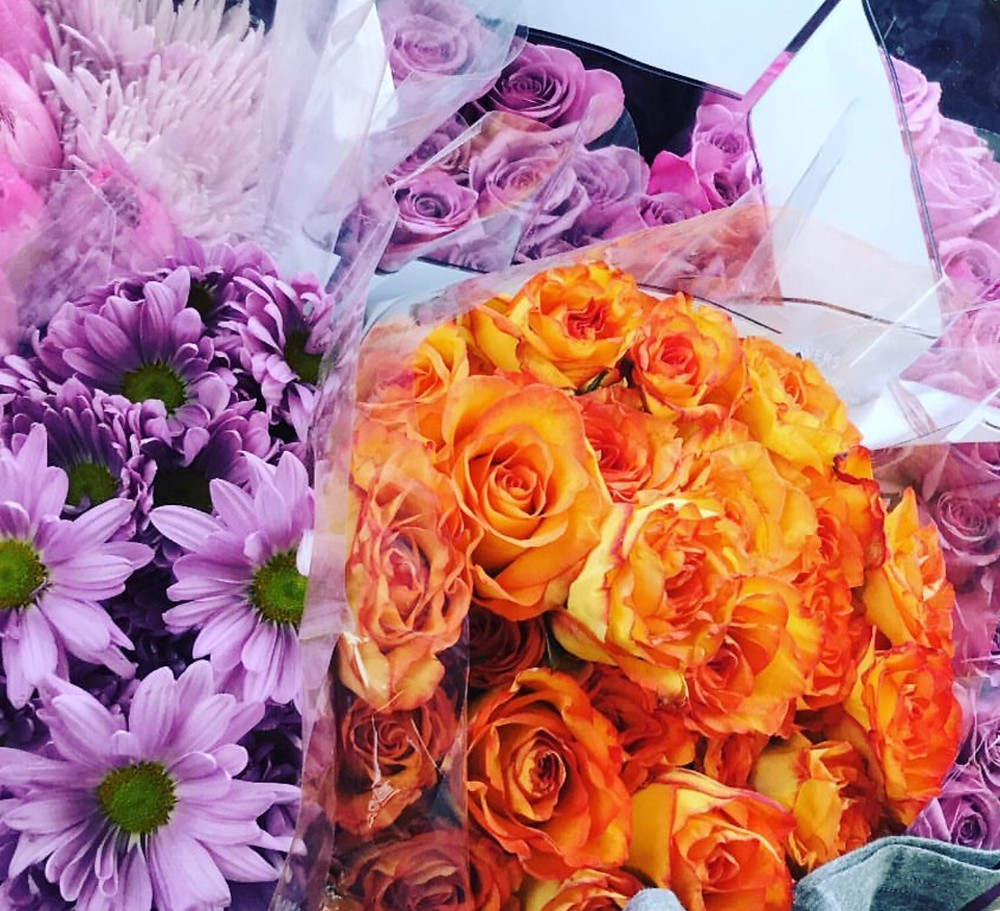 After a flower run- All purple ones are for me, orange one for friends!!