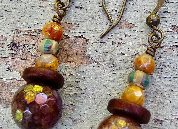 Czech beaded drop earrings