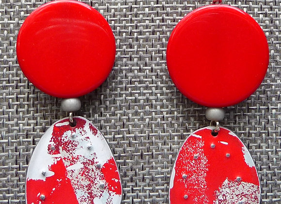 Bright Red Tin and Lucite Drop Earrings