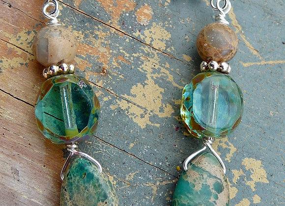 Aqua Jasper and Czech bead drop earrings