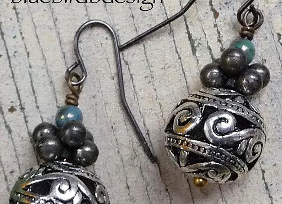 Pewter filigree drop earrings.