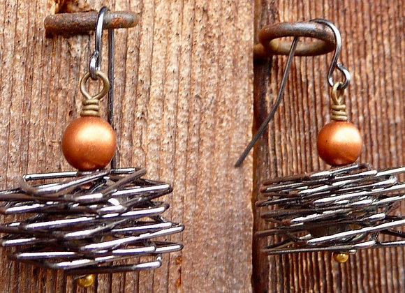 Stacked offset wire earrings