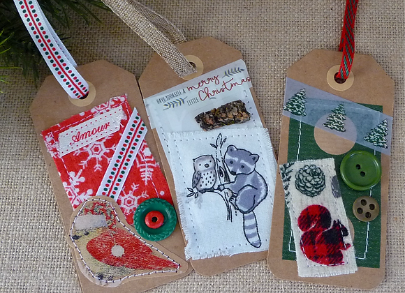 3 Handmade holiday tags.