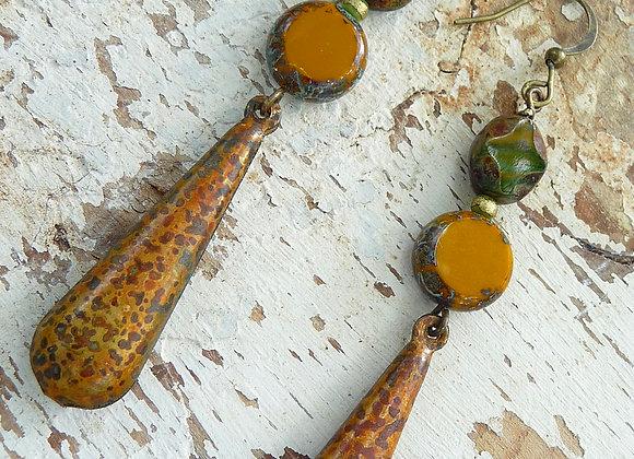 Czech bead and metal drop earrings