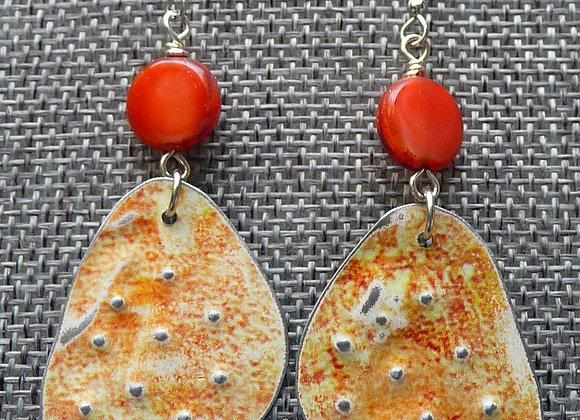 Orange/BeigeTin Drop Earrings