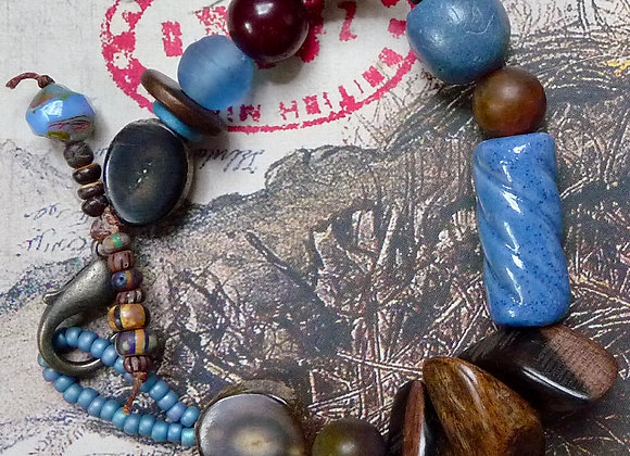 Assorted brown and blue beaded bracelet.
