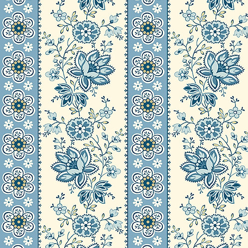 Floral Stripe | Color: Blue Bell | Edyta Sitar |Laundry Basket Quilts | A-9578-B