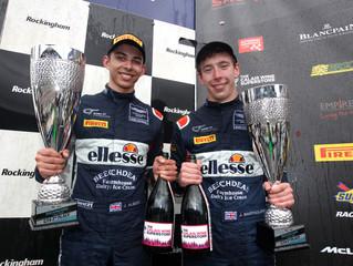 Jordan Albert and Jack Bartholomew win round 2 of British GT4 championship at Rockingham.