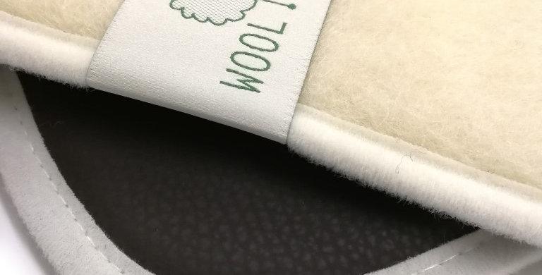 Wollen yogamat met Ecoleather Ecru/bruin