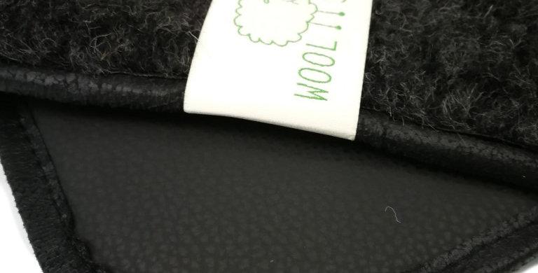 Wollen yogamat met Ecoleather Zwart/zwart