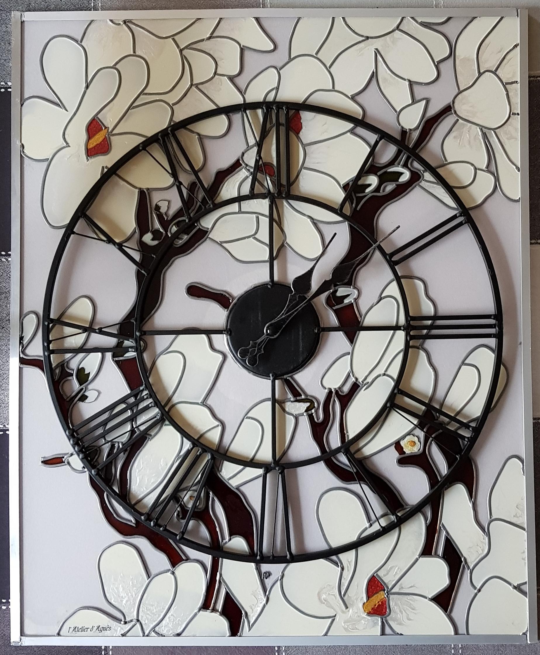 tableau horloge Magnolias
