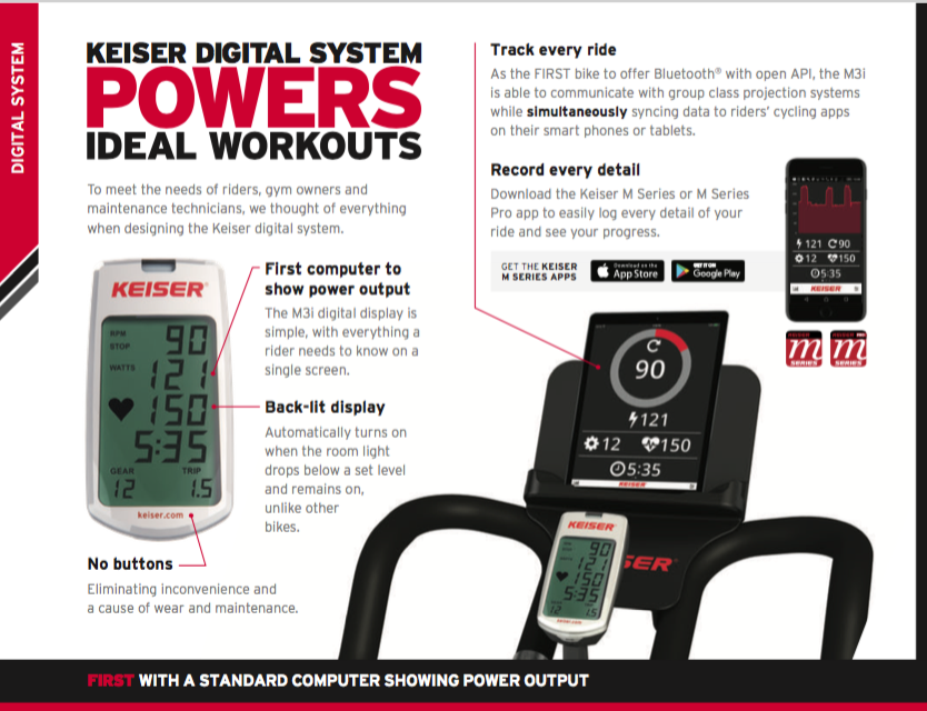 Keiser bike display