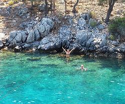 Turquoise sea Fethiye Dragon Pirate Boat Trip Ölü Deniz Turkey