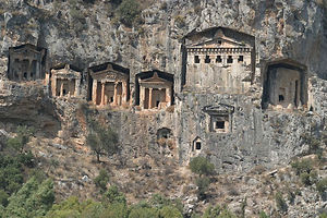 Dalyan rock tombs Dragon Pirate Boat Trip Ölü Deniz Turkey