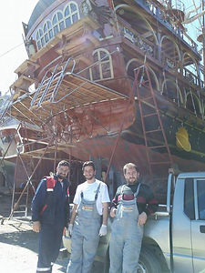 Dragon pirate boat repair dry dock Fethiye Turkey