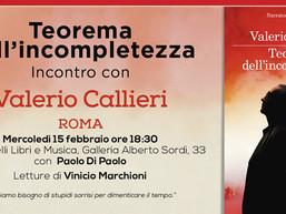 mercoledì 15 marzo Valerio Callieri presenta il suo romanzo a Roma