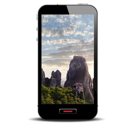 Smartphone com a foto de uma montanha.