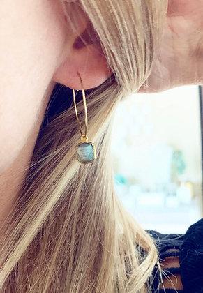 Boucles d'oreilles créoles et pierre grise