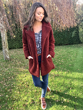 Manteau teddy bordeaux
