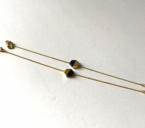Bracelet chaine motif marbré bleu