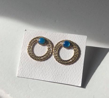 Boucles d'oreilles pierre agathe bleue