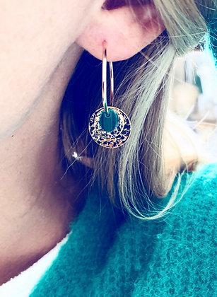 Boucles d'oreilles créoles et pierre verte