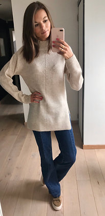 Pull/robe col montant beige