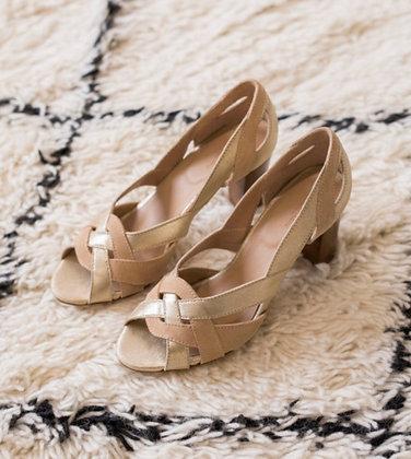 Sandales à talons champagne sablé