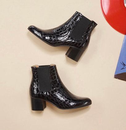 Boots cuir vernis croco noir