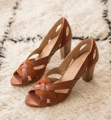 Sandales à talons camel