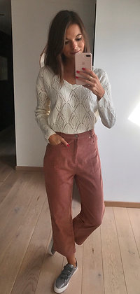Pantalon velours rose