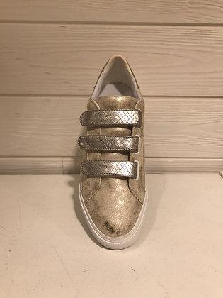 Sneakers dorées scratch croco silver