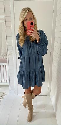 Robe courte bleu métallique