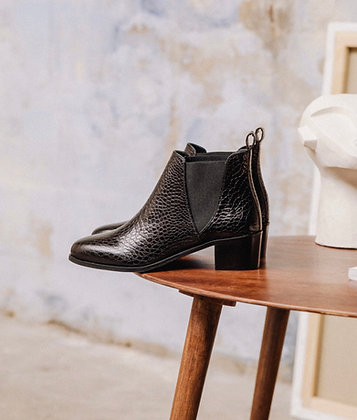 Boots croco noir