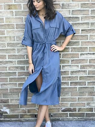 Robe chemisier bleue