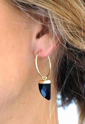Boucles d'oreilles anneau et pendentif