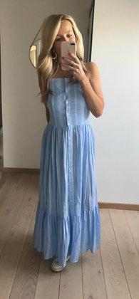 Robe longue lignée bleu et blanc