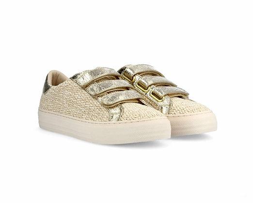 Sneakers raphia straps dorés